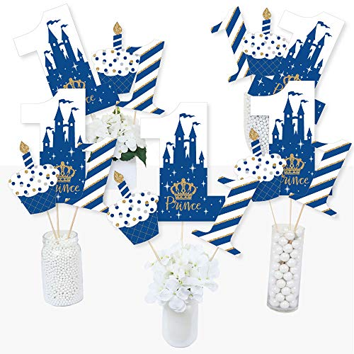 1st Birthday Royal Prince Charming - First Birthday Party Centerpiece Sticks - Table Toppers - Set of 15 ()
