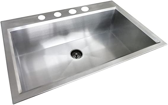 Glacier Bay All In One Dual Mount Stainless Steel 33x22x9 4 Hole Single Bowl Kitchen Sink In Satin Finish Amazon Com