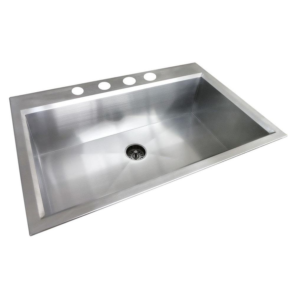 Attrayant Amazon.com: Glacier Bay All In One Dual Mount Stainless Steel 33x22x9  4 Hole Single Bowl Kitchen Sink In Satin Finish: Electronics