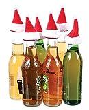 DEI Santa Hat Beer Soda Christmas Holiday Bottle Topper 6 Pack