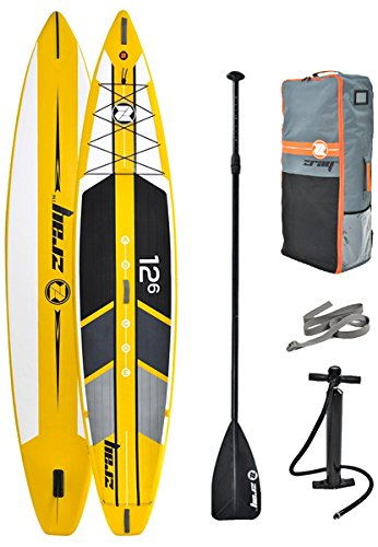 Z-Ray 12'6'' Racing SUP Stand Up Paddle Board Package w/ Pump, Paddle and Travel Backpack, 6'' Thick by Zray