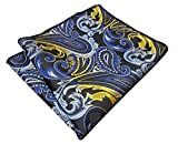 Shlax&Wing Paisley Blue Black Yellow Pocket Square Mens Hankies Hanky
