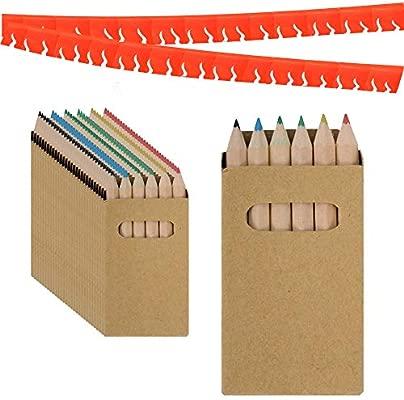 Piñatas de Cumpleaños Infantiles Partituki. 25 Sets de 6 Lapices para Colorear y una Guirnalda (Color Aleatorio) de 20 m. Ideal para Detalles ...