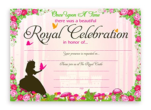 Princess Fairy Tale Party Invitations - 10 Invitations + 10 Envelopes