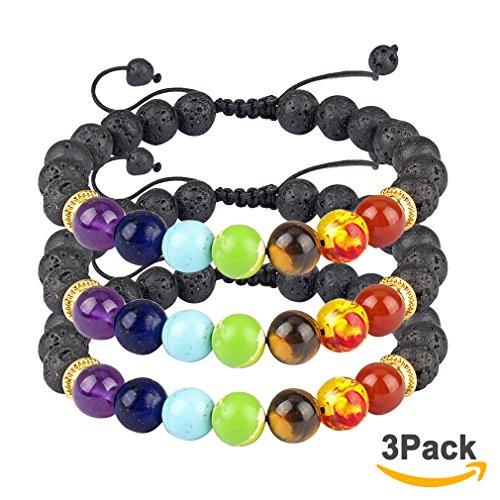 3 Stone Green Bracelet (Casoty Men Women 7 Chakras Beads Bracelet 8mm Lava Rock Adjustable Braided Rope Natural Stones Lucky Prayer Healing Yoga Bracelets (3 Pcs Set))