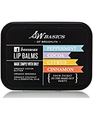 S.W. Basics Lip Balm Flight (4 pack) - Organic Beeswax and Cocoa Butter Lip Balm Set for Dry Lips