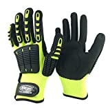 Nmsafety Anti Vibration Oil-proof Cut Resistant Safety Work Glove,Full finger,Yellow Nylon+HPPE+Glassfirbe Seamless Knitted Liner With Sandy Nitrile Rubber Palm,Excellent Grip. (Extra Large)