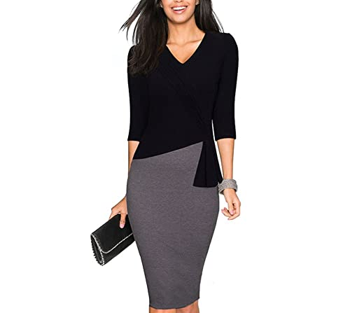 Colyanda Womens Elegant Patchwork 3/4 Sleeve Wear to Work Sheath Business Dress