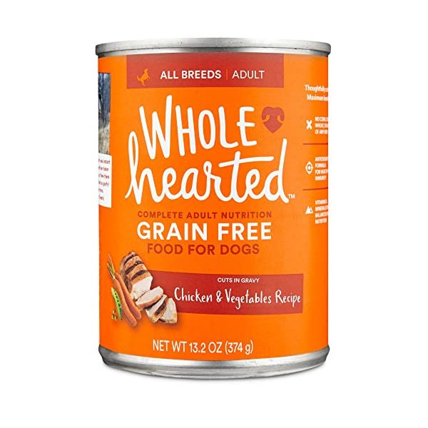 WholeHearted Grain Free Adult Chicken and Vegetable Recipe Wet Dog Food, 13.2 oz, Case of 12, 12 X 13.2 OZ