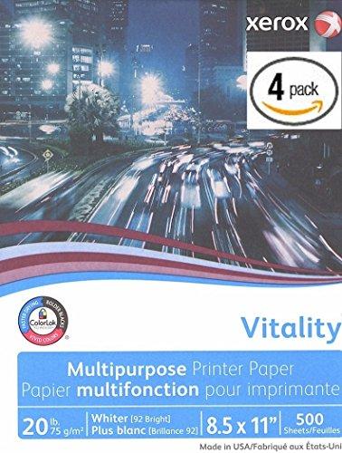 (Xerox Vitality Business 4200 Multipurpose Copy Laser Inkjet Printer Paper, 8 1/2 x 11 Inch Letter, 20 lb. Density, 92 Bright White, ColorLok, 4 Ream Pack, 2000 Total Sheets (3R02047-4)