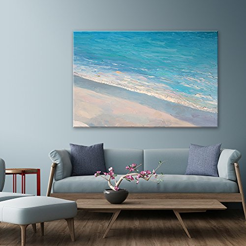 wall26 Canvas Wall Art - Oil Painting Style Abstract Seascape with Waves on the Beach - Giclee Print Gallery Wrap Modern Home Decor Ready to Hang - 32x48 inches (Ocean Painting Oil)