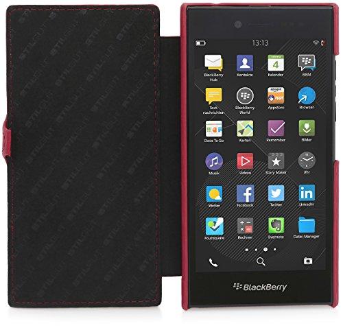 StilGut Book Type Funda con cierre clip, de piel auténtica para BlackBerry Leap, Rojo - Nappa Rojo - Nappa con clip