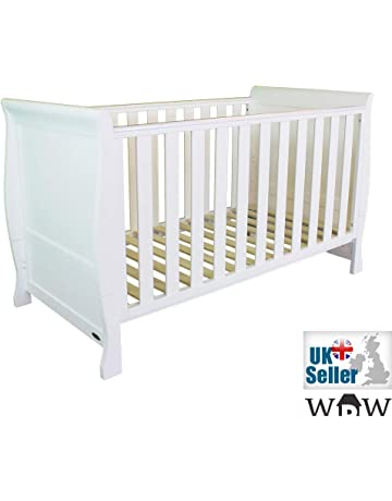 BC140-M White Solid Wood Sleigh Full Size 152x76cm Baby Cot Bed Convert to Junior Bed with Mattress
