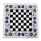"18"" White Marble Square Coffee Cum Chess Table Top Inlay Lapis Lazuli Floral Design"