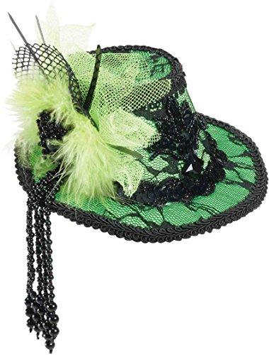 Forum Novelties Women's Mini Lace Fedora Hair Clip-Green Party Supplies, Standard