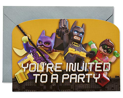 American Greetings Lego Batman Party Supplies, Invite Postcard, 8-Count