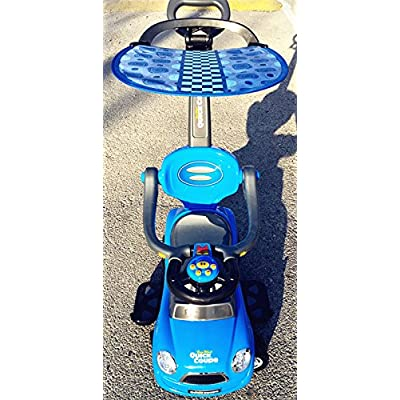 Quick Coupe Blue Kid Ride On 3 in 1 Push Car with Canopy Toddler Wagon W Handle Horn Outdoor Stroller &Easy Wheel &Electronic: Toys & Games