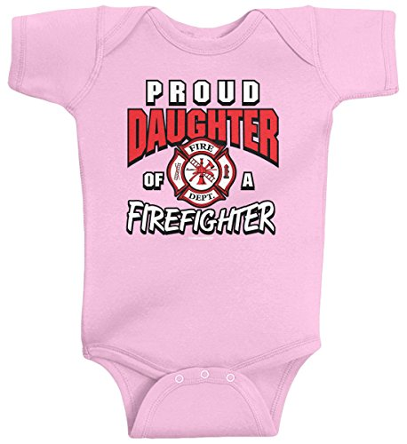 Threadrock Baby Girls' Proud Daughter of a Firefighter Infant Bodysuit 6M Pink