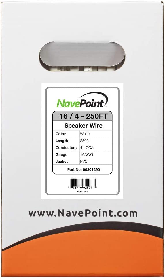 NavePoint 250ft in Wall Audio Speaker Cable Wire CL2 16//4 AWG Gauge 4 Conductor Bulk White