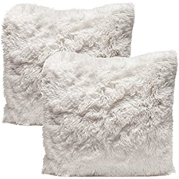 Chanasya Super Soft Shaggy Chic Fuzzy Faux Fur Elegant Cozy White Throw Pillow Cover Pillow Sham - Solid White Fur Throw Pillowcase 18x18 Inches 2-Pack(Pillow Insert Not Included)