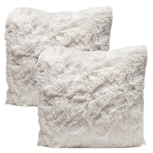 Chanasya Super Soft Shaggy Chic Fuzzy Faux Fur Elegant Cozy White Throw Pillow Cover Pillow Sham - Solid White Fur Throw Pillowcase 18x18 Inches 2-Pack(Pillow Insert Not Included) (Faux Fur Euro Sham)
