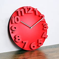 Digital clock,[modern] Simple Creative wall clocks Living room 3D stereo digit Clocks Large wall charts Plastic-red 14inch