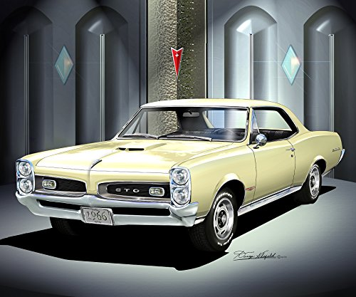 1966 PONTIAC GTO COUPE Candlelight cream- ART PRINT POSTER BY ARTIST DANNY WHITFIELD - SIZE 24 X 36