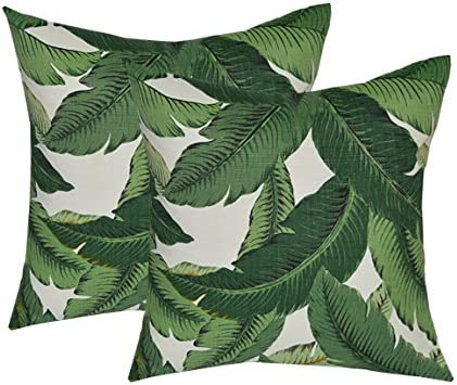 RSH DECOR Set of 2 – Indoor Outdoor 17 Square Decorative Throw Toss Pillows – Made with Tommy Bahama Swaying Palms – Aloe – Green Tropical Palm Leaf