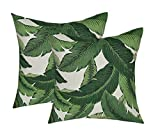 Set of 2 - Indoor / Outdoor 17'' Square Decorative Throw / Toss Pillows - Tommy Bahama Swaying Palms - Aloe - Green Tropical Palm Leaf