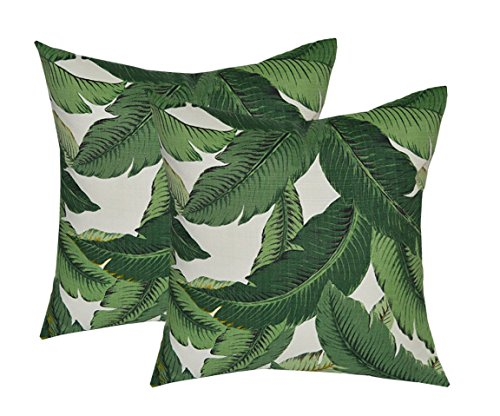 "Set of 2 - Indoor / Outdoor 17"" Square Decorative Throw / Toss Pillows - Tommy Bahama Swaying Palms - Aloe - Green Tropical Palm Leaf"