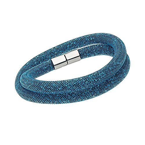 Swarovski Stardust 5120022 Teal Blue Crystals Double Wrap Bracelet - M