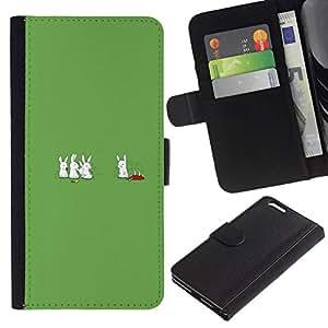 // PHONE CASE GIFT // Moda Estuche Funda de Cuero Billetera Tarjeta de crédito dinero bolsa Cubierta de proteccion Caso Apple Iphone 6 PLUS 5.5 / Cannibal Bunny Rabbits - Funny /