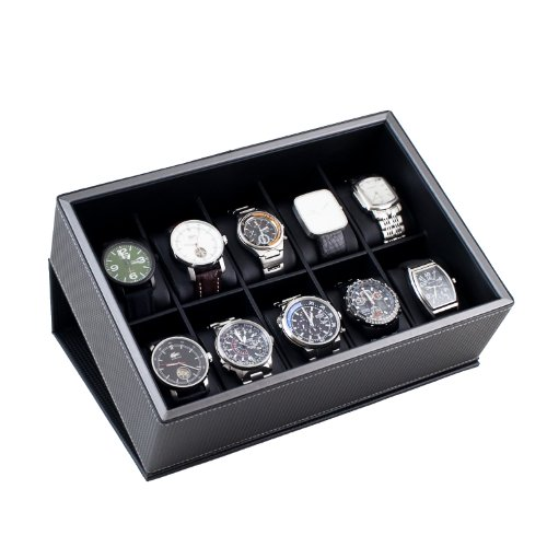 Caddy Bay Collection Watch Case Display Box Holds 10 Large Watches with Black Carbon Fiber Pattern Exterior and Gunmetal Grey Trim