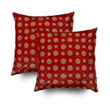 Shorping Zippered Pillow Covers Pillowcases 20X20Inch 2 Pack red Chocolate chip Cookies Pattern Decorative Throw Pillow Cover Pillow Cases Cushion Cover for Home Sofa Bedding