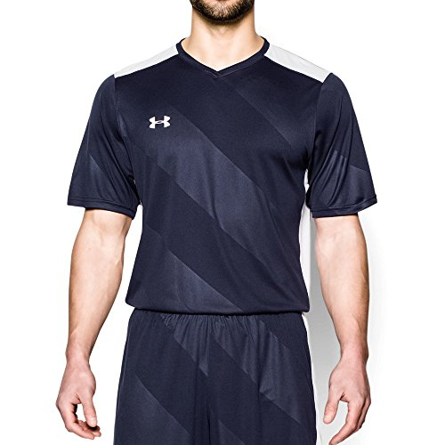 Under Armour Men's Fixture Soccer Jersey, Midnight Navy (410)/White, Large