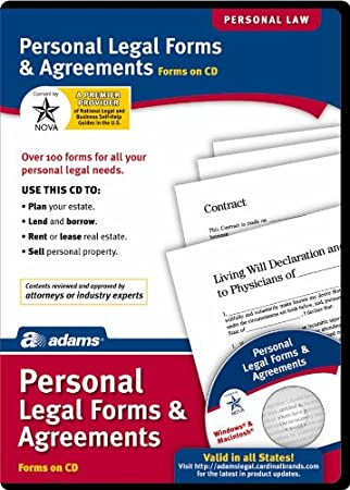 Amazon Adams Personal Legal Forms And Agreements On CD White SS4322 Office Products