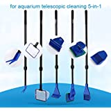LONDAFISH Cleaning Kit for Fish Tank Long Handle Fish Tank Brush Functional Five Cleaning Tools for Aquarium Telescopic Cleaning 5-in-1
