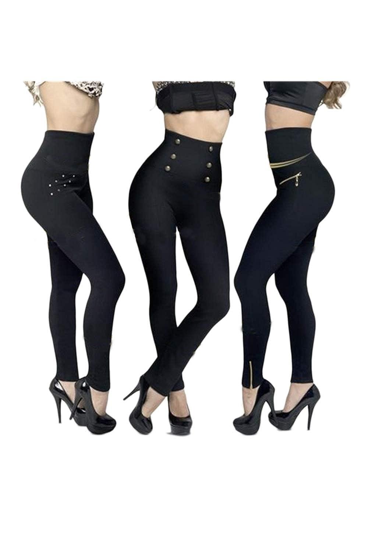 Fanvans Womens Hollywood Leggings Tight High Waist Slim Pants 3 Pack