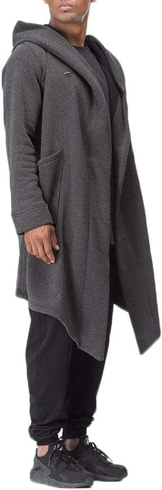 Mens Casual Hooded Overcoat Cloak Open Front Longline Hoodies Cardigan Outwear