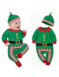 Changeshopping Unisex Baby Clothes Outfits Kids Romper Hat Cap Set Christmas Gift