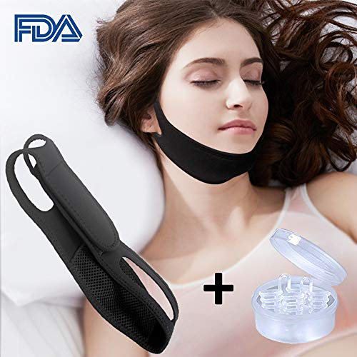 Anti snoring Chin Strap Device as Snore Stop Sleep AIDS Solution - Adjustable Snore Stopper for Women & Men (Combination)