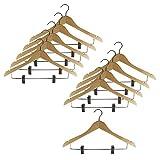 SIMPLY 天然木製&ステンレス製ハンガー クリップ付きスーツハンガー ナチュラルカラー (10本セット)