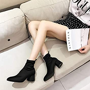 Shukun Botines Stretch Boots Botines de Mujer Skinny Boots Martin Boots Square Head Thick con Botines de Mujer de tacón Alto Spring and Autumn Single Boots: ...