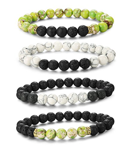 731a6fdcc5 LOYALLOOK 4Pcs Matching Couple Bracelets White and Green Natural Stone  Elastic Beaded Bracelet for Men Women 2 Sets - Buy Online in Oman. | Jewelry  Products ...