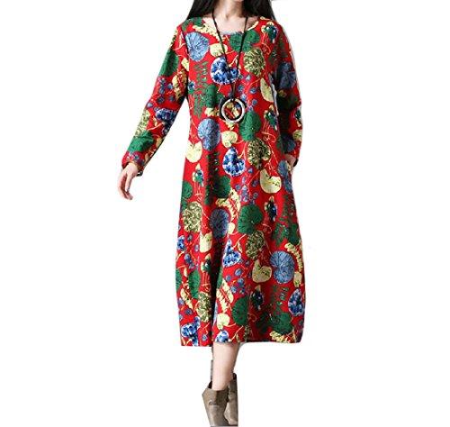 Coolred Femmes Linge Crewneck Impression Maigre Tribal Bouffante Maxi Pattern8 Robe De Plage
