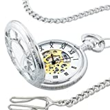 "Kansas City Railroad Pocket Watch- Antique Style - in Silver Tone with Butterfly Hinge and 26"" Pocket Chain- Nostalgic Time-Piece inspired by Jesse James' Train Robbery 1874 - comes with Certificate of Authenticity (As Seen ON TV)"