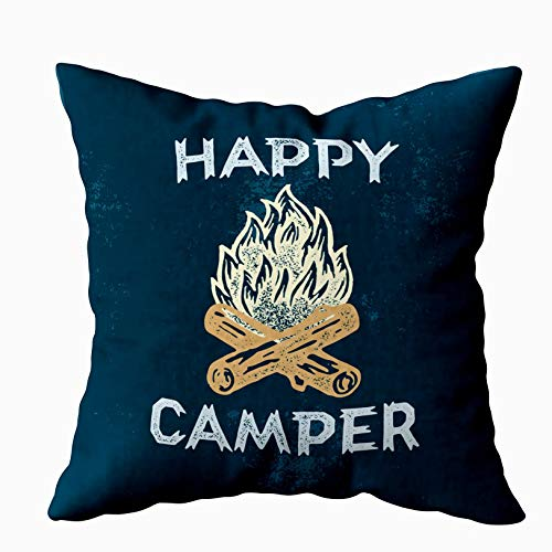 (Musesh Holiday Throw Pillow Case, Happy Lettering Apparel Outdoor Logo Campfire Print. Emblem. Illustration. for Sofa Home Decorative Pillowcase 18X18Inch Pillow Covers)