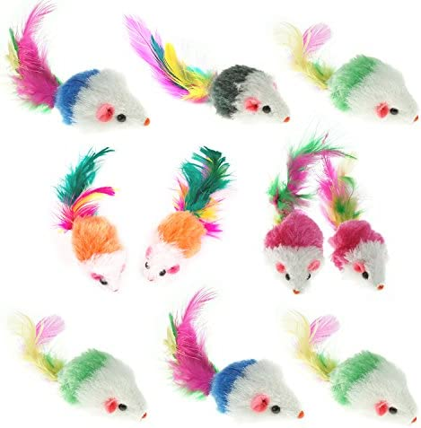 Aftermarket Furry Pet Cat Toys Mice, Cat Toy Mouse, Pet Toys for Cats, Cat Catcher for Feather Tails, 10 Counting 2