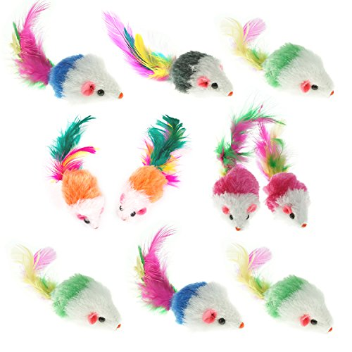 Aftermarket Furry Pet Cat Toys Mice, Cat Toy Mouse, Pet Toys for Cats, Cat Catcher for Feather Tails, 10 Counting