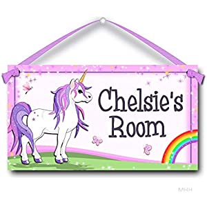 """Personalized Unicorns Name Kids Room Baby Nursery 7/"""" x 10.5/"""" SIGN Plaque"""